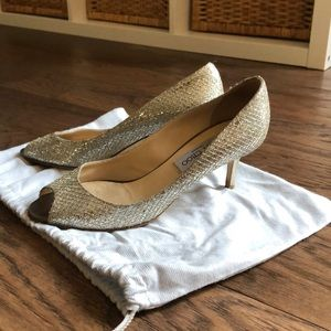 Jimmy Choo Evelyn Silver Size 37 (US 7)